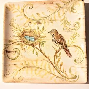 """Kate Mcrosite 8"""" square plate w/ bird and nest"""